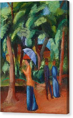 A Stroll In The Park Canvas Print by August Macke