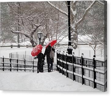 Winter Under Red Umbrellas Canvas Print