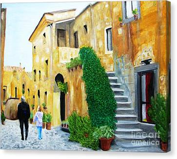A Stroll With Papa In Italy Canvas Print by Nathan Rodholm