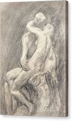 A Study Of Rodin's Kiss In His Studio Canvas Print by Gwen John