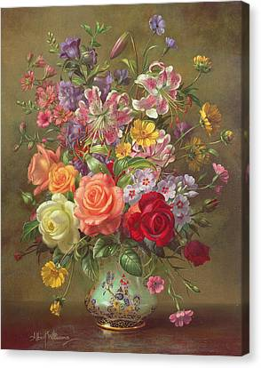 A Summer Floral Arrangement Canvas Print by Albert Williams