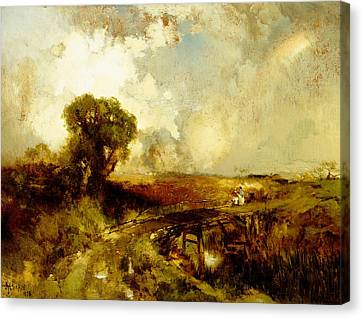 A Summer Shower Canvas Print by Thomas Moran