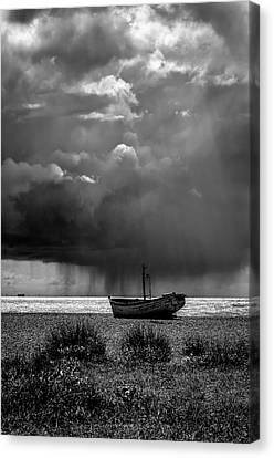 A Summer Squall. A Fine Art Photographic Print Of A Passing Rainstorm Off Of The Coast At Aldeburgh Canvas Print by Lee Thornberry