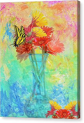 A Summer Time Bouquet Canvas Print by Diane Schuster