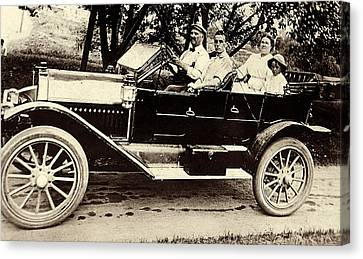 A Sunday Drive - Around 1910 Canvas Print by Suzanne Gaff