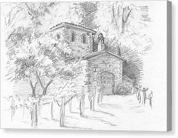 Wine Scene Canvas Print - A Sunny Day In The Vineyard by Masha Batkova