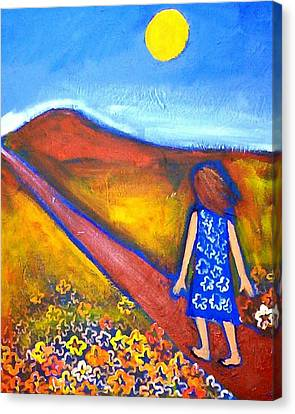 Canvas Print featuring the painting A Sunny Path by Winsome Gunning