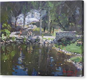 A Sunny Sunday In Williamsville Park Canvas Print by Ylli Haruni