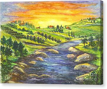 A Sunset In Wine Country Canvas Print by Carol Wisniewski