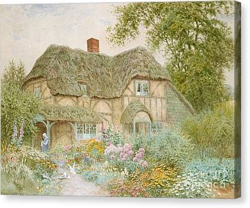 Country Cottage Canvas Print - A Surrey Cottage by Arthur Claude Strachan