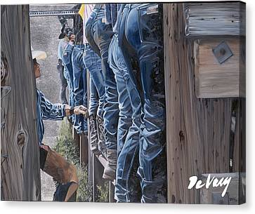 Santa Fe Cowgirl Canvas Print - A Tale In Every Pair by David DeVary