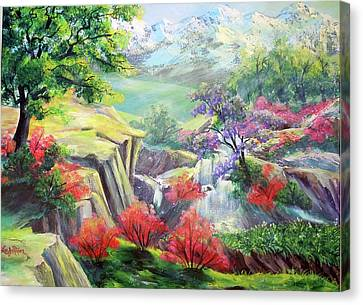 Canvas Print featuring the painting A Taste Of Lavender In The Spring by Lee Nixon