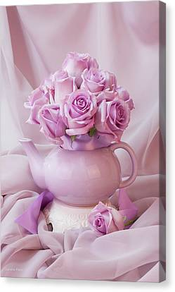 A Tea Pot Of Lavender Pink Roses  Canvas Print