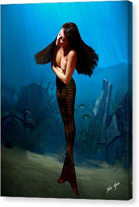 A Temple Mermaid Canvas Print by Tray Mead