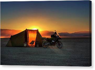 Canvas Print featuring the photograph A Tent, A Motorcycle, And A Sunset On The Playa by Peter Thoeny