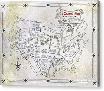 A Texan's Map Canvas Print by Jon Neidert