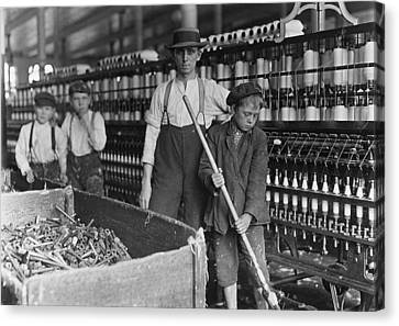 A Textile Mill. Sweeper And Doffer Boys Canvas Print by Everett