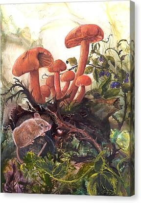 Canvas Print featuring the painting A Thorny Situation by Sherry Shipley