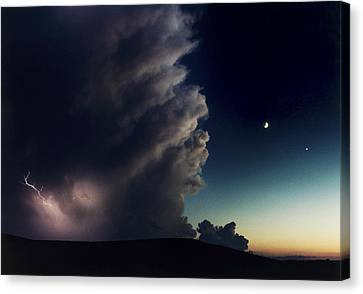Cosmic And Atmospheric Phenomena Canvas Print - A Thunderstorm, Evening Star by Joel Sartore