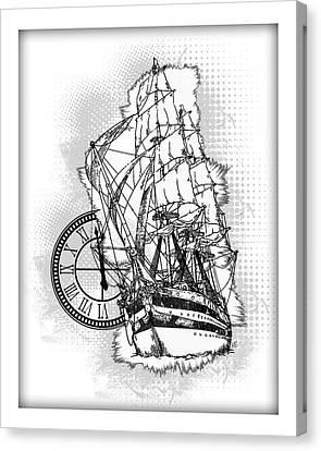 A Time To Sail Bw 2 Canvas Print