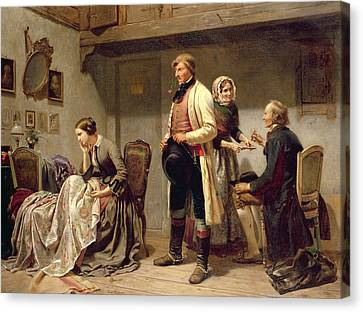 Biting Canvas Print - A Toast To The Engaged Couple by Carl Wilhelm Huebner