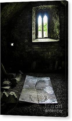 Canvas Print featuring the photograph A Tombstone In Sligo Abbey by RicardMN Photography