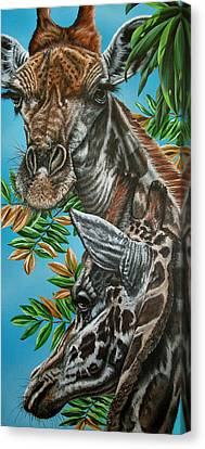 A Tower Of Giraffes Canvas Print