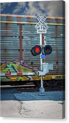 Canvas Print featuring the photograph A Train Speeding By by Guy Whiteley