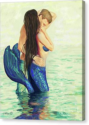 Canvas Print featuring the painting A Treasured Love by Leslie Allen