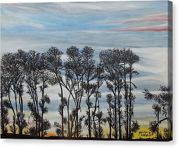 Canvas Print featuring the painting A Treeline Silhouette by Marilyn  McNish
