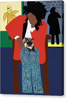 A Tribute To Jean-michel Basquiat Canvas Print by Synthia SAINT JAMES