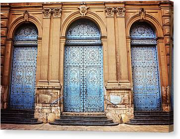 A Trio Of Doors In Valencia Spain Canvas Print by Carol Japp