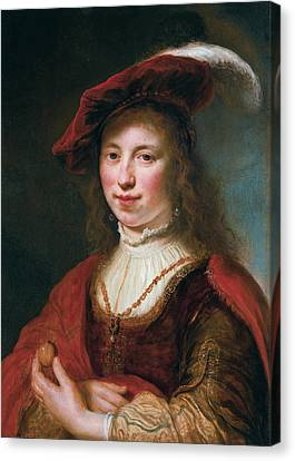 A Tronie Of A Young Woman Canvas Print by Govert Flinck