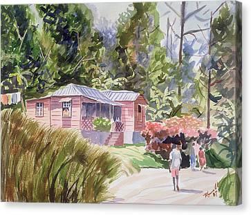 Black Artist Canvas Print - A Tropical Home by Carlton Murrell