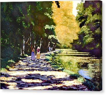 A Turn On The Canal Canvas Print by David Zimmerman