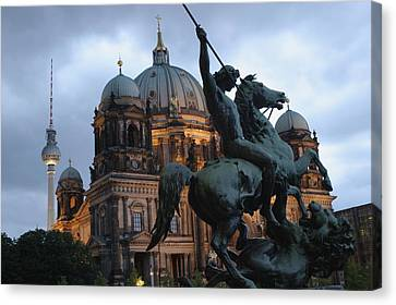 A Twilight View Of The Berlin Cathedral Canvas Print by Jim Webb
