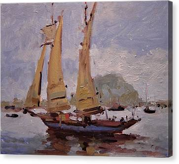 A Two Master Sails Into Morro Bay Canvas Print by R W Goetting