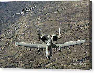 A Two-ship A-10 Thunderbolt II Canvas Print by Stocktrek Images