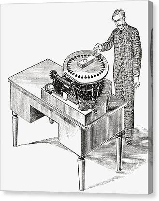 A Typewriter Of 1836. From The Strand Canvas Print