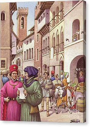 A Typical Street Scene In Florence In The Early 15th Century  Canvas Print by Pat Nicolle