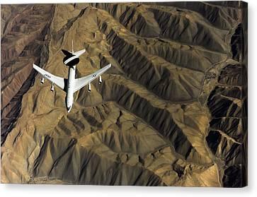 A U.s. Air Force E-3 Sentry Aircraft Canvas Print by Stocktrek Images