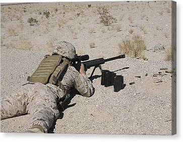 A U.s. Marine Zeros His M107 Sniper Canvas Print by Stocktrek Images
