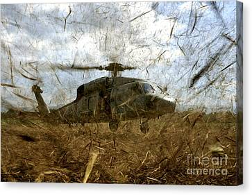 A U.s. Navy Hh-60 Seahawk Stirs Canvas Print by Stocktrek Images