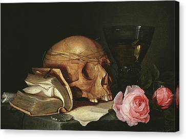 A Vanitas Still Life With A Skull, A Book And Roses Canvas Print by Jan Davidsz de Heem