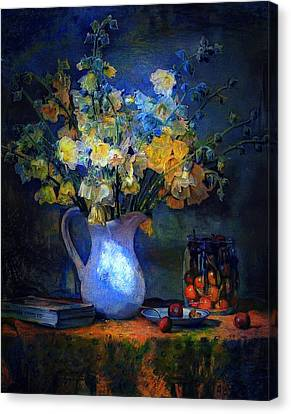 A Vase In Moonlight Canvas Print