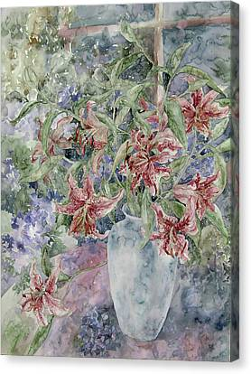 A Vase Of Lilies Canvas Print