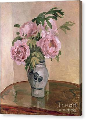 Interior Still Life Canvas Print - A Vase Of Peonies by Camille Pissarro