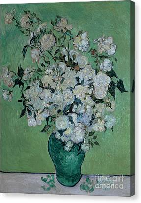 1890 Canvas Print - A Vase Of Roses by Vincent van Gogh