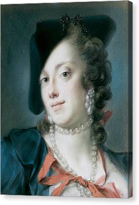 A Venetian Lady From The House Of Barbarigo Canvas Print by Rosalba Carriera