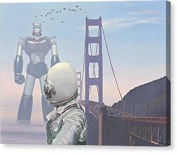 Astronauts Canvas Print - A Very Large Robot by Scott Listfield